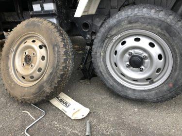 軽トラタイヤパンク